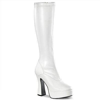 """Electra Platform Knee Boot White Faux Leather 5"""" Heel"""