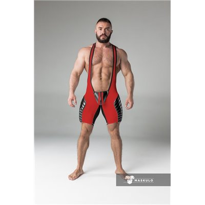 MASKULO - Wrestling Singlet Codpiece Open rear full thigh Pads Red