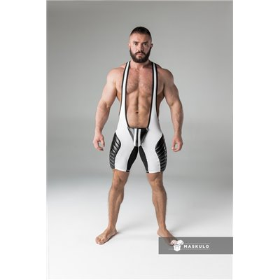 MASKULO - Wrestling Singlet Codpiece Open rear full thigh Pads White